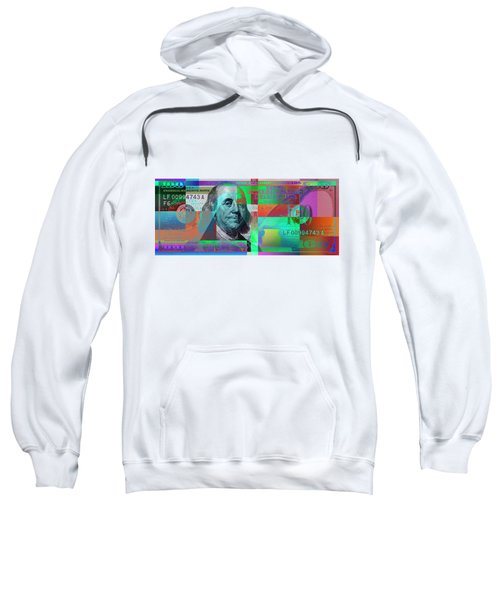 New 2009 Series Pop Art Colorized Us One Hundred Dollar Bill  No. 2 Sweatshirt