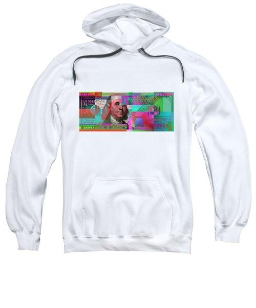 New 2009 Series Pop Art Colorized Us One Hundred Dollar Bill  No. 3 Sweatshirt