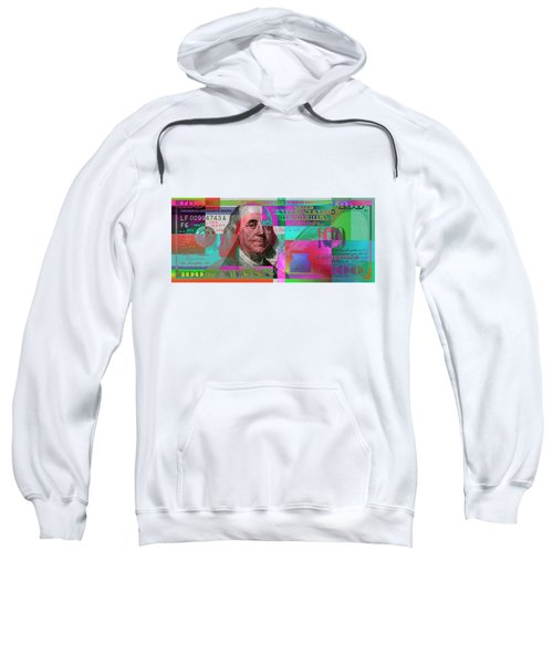 New 2009 Series Pop Art Colorized Us One Hundred Dollar Bill  No. 3 Sweatshirt