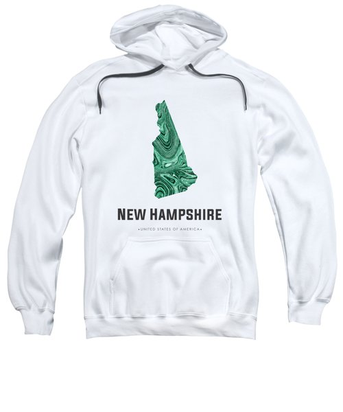 New Hampshire Map Art Abstract In Blue Green Sweatshirt
