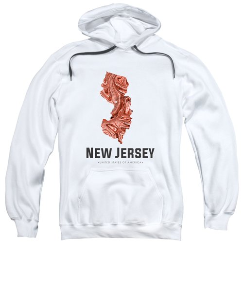New Jersey Map Art Abstract In Brown Sweatshirt