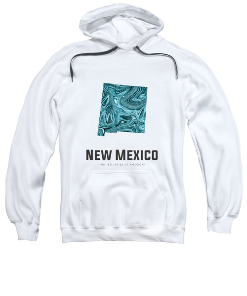 New Mexico Map Art Abstract In Blue Sweatshirt