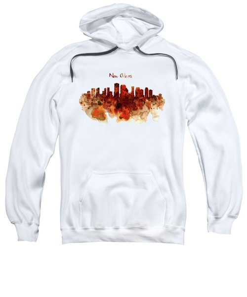 New Orleans Watercolor Skyline Sweatshirt by Marian Voicu