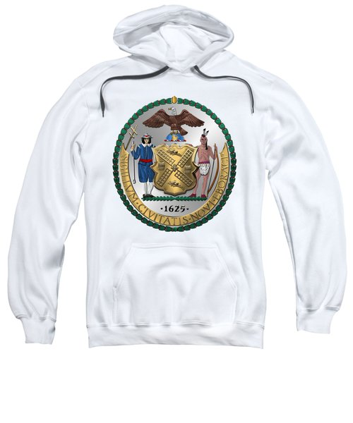 New York City Coat Of Arms - City Of New York Seal Over White Leather  Sweatshirt by Serge Averbukh