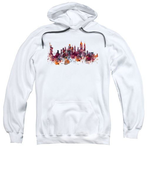 New York Skyline Watercolor Sweatshirt by Marian Voicu