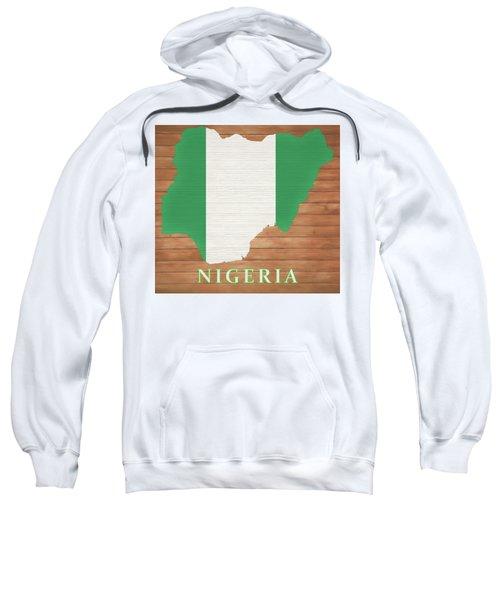 Nigeria Rustic Map On Wood Sweatshirt