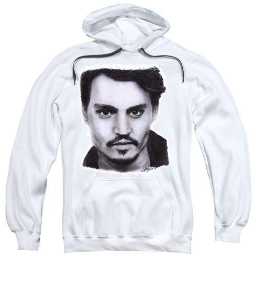 Johnny Depp Drawing By Sofia Furniel Sweatshirt by Sofia Furniel