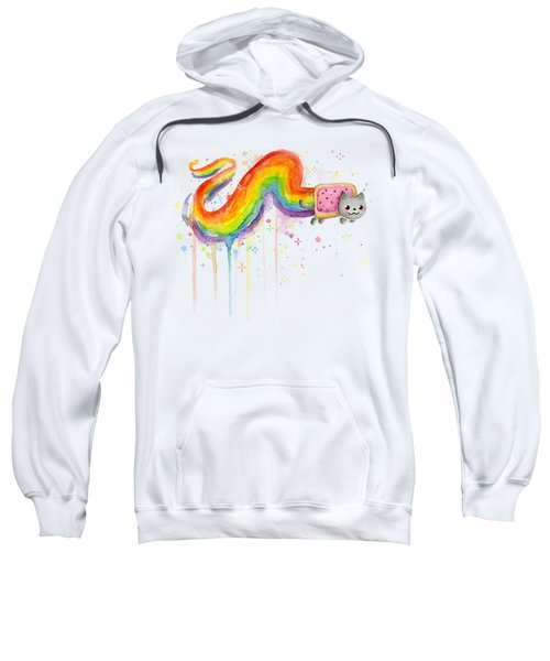 Nyan Cat Watercolor Sweatshirt by Olga Shvartsur