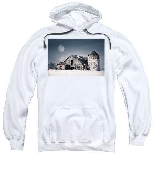 Old Barn And Winter Moon - Snowy Rustic Landscape Sweatshirt