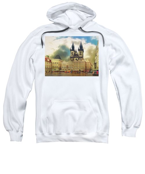 Old Town Square Prague In The Rain Sweatshirt