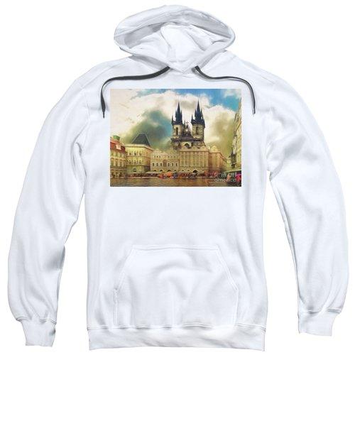 Old Town Square Prague In The Rain Sweatshirt