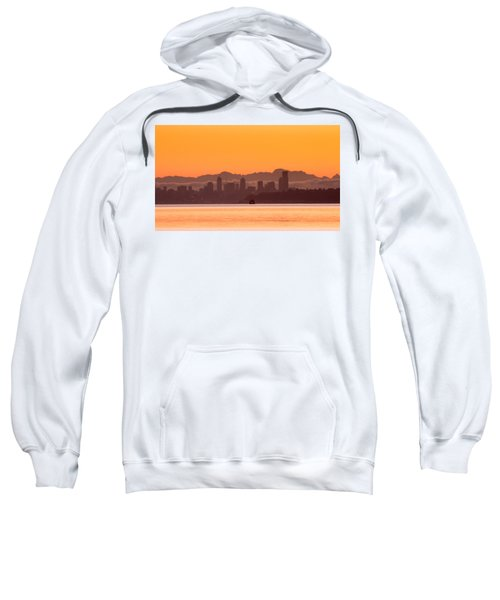 Seattle Skyline In Orange Sweatshirt