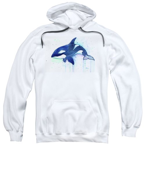 Orca Whale Watercolor Killer Whale Facing Right Sweatshirt