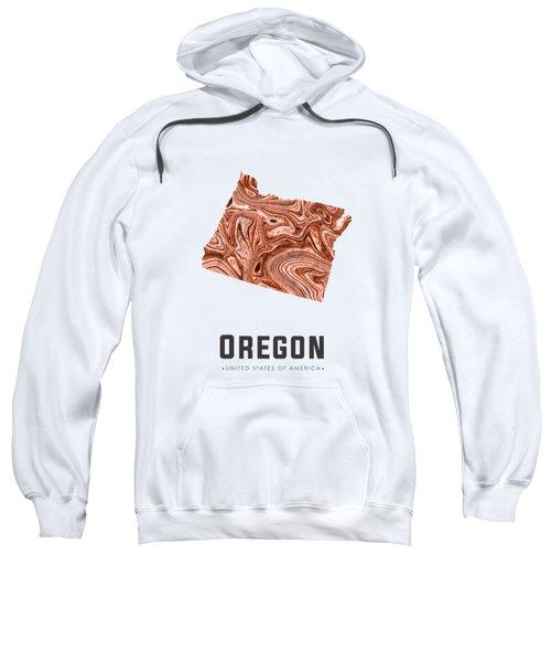 Oregon Map Art Abstract In Brown Sweatshirt