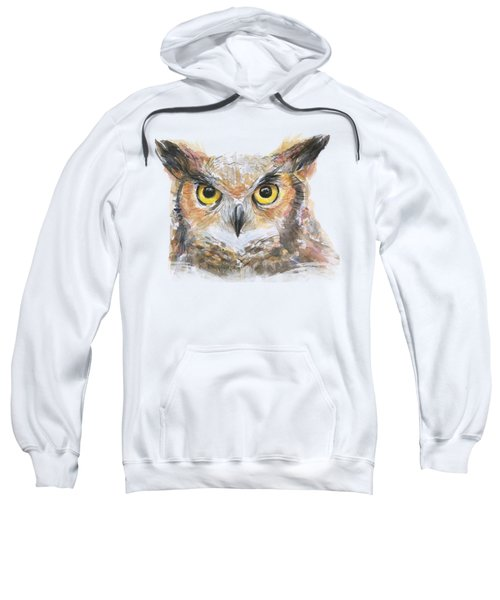 Owl Watercolor Portrait Great Horned Sweatshirt by Olga Shvartsur