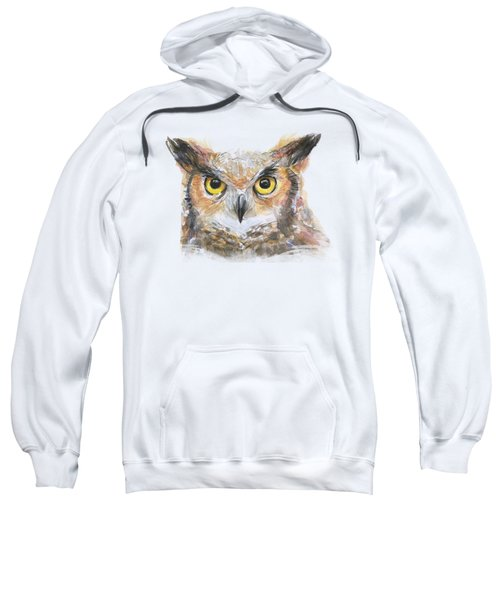 Owl Watercolor Portrait Great Horned Sweatshirt