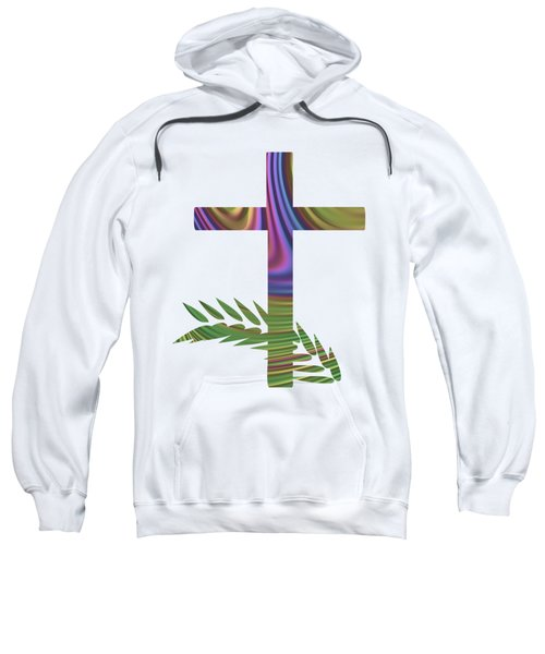Palm Sunday Cross With Fractal Abstract Sweatshirt