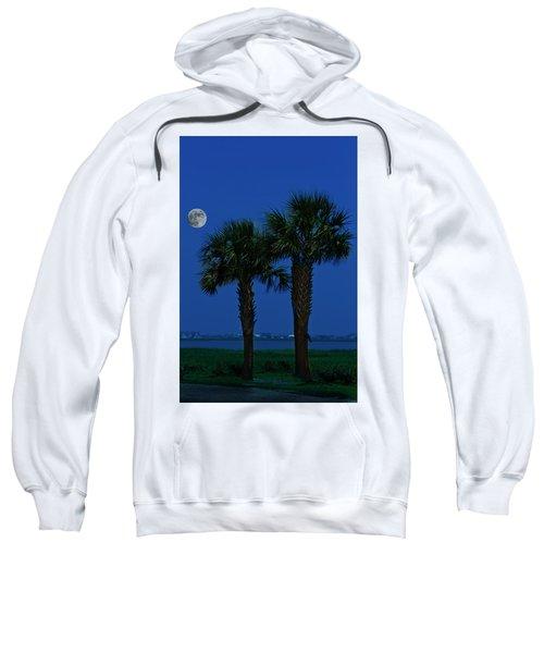 Palms And Moon At Morse Park Sweatshirt
