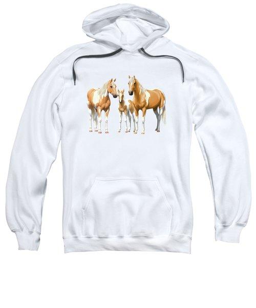 Palomino Paint Horses In Winter Pasture Sweatshirt