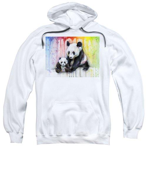 Panda Watercolor Mom And Baby Sweatshirt by Olga Shvartsur