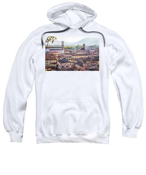 panorama of old town Lucca, Italy Sweatshirt