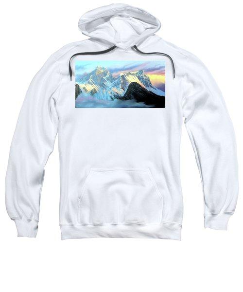 Panoramic Sunrise View Of Everest Mountain Sweatshirt