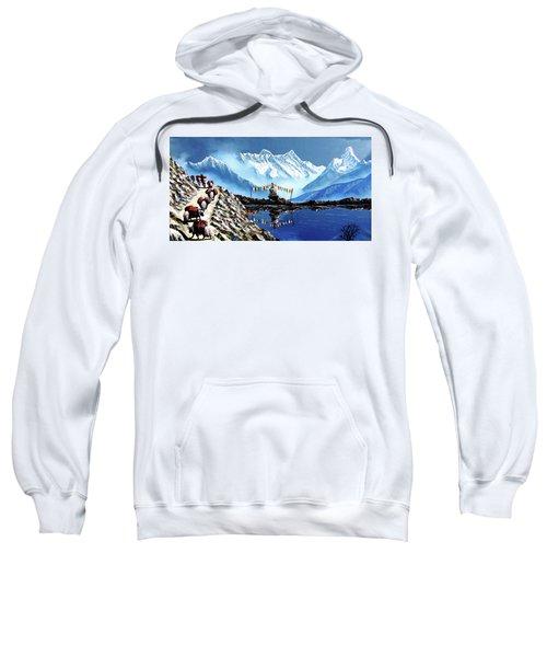 Panoramic View Of Annapurna Mountain Nepal Sweatshirt