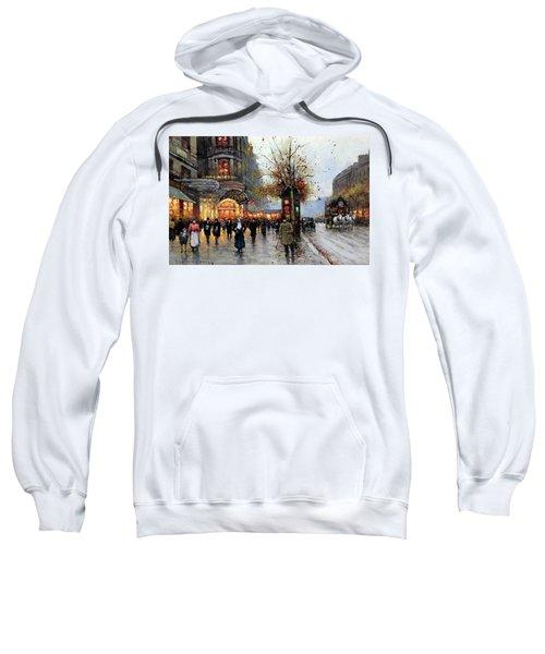 Sweatshirt featuring the painting Paris Street Scene by Edouard Cortes