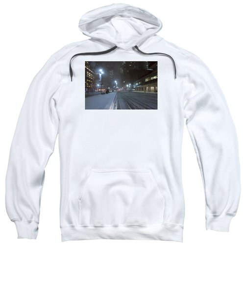 Park Avenue Near Lever Building In Snow Storm Late Night Sweatshirt