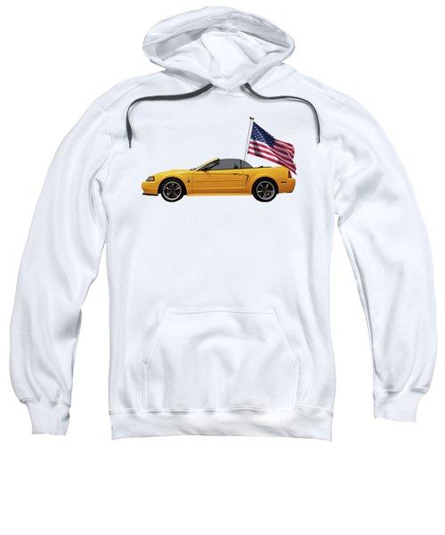 Patriotic Yellow Mustang With Us Flag Sweatshirt