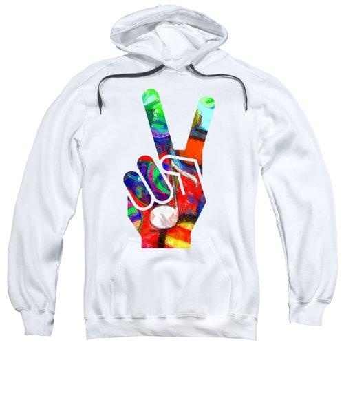 Peace Hippy Paint Hand Sign Sweatshirt by Edward Fielding