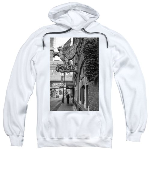 Pegasus In Detroit Black And White  Sweatshirt