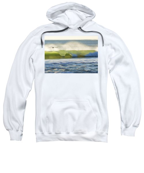 Pelican Flying Over Wind Wave Sweatshirt