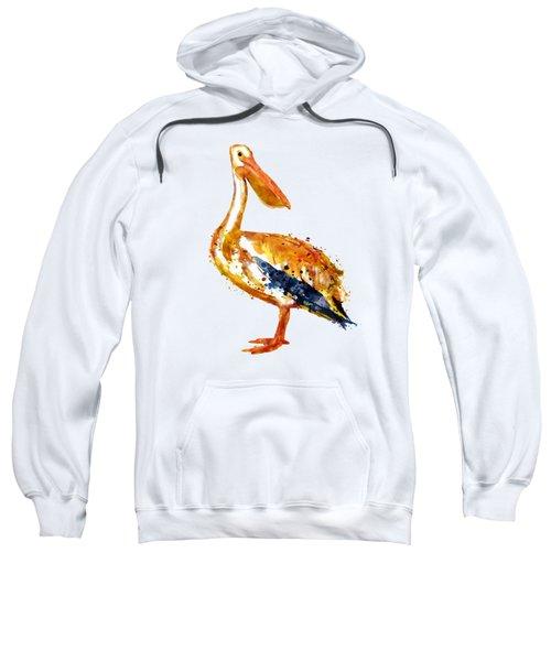 Pelican Watercolor Painting Sweatshirt by Marian Voicu