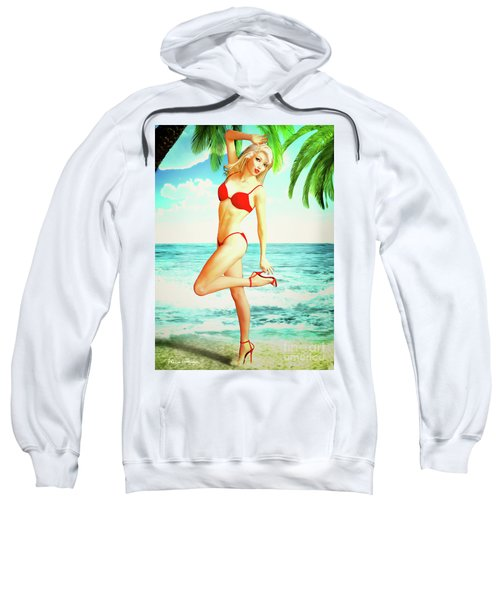 Pin-up Beach Blonde In Red Bikini Sweatshirt