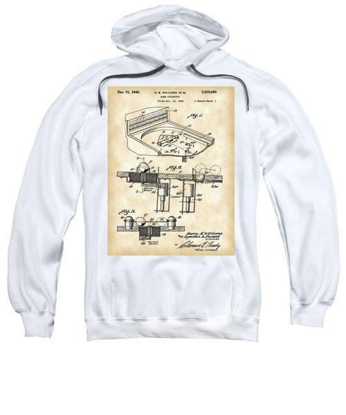 Pinball Machine Patent 1939 - Vintage Sweatshirt by Stephen Younts