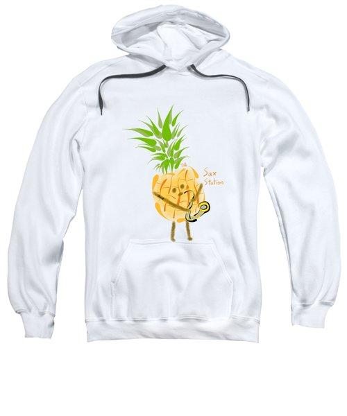 Pineapple Playing Saxophone Sweatshirt by Neal Battaglia