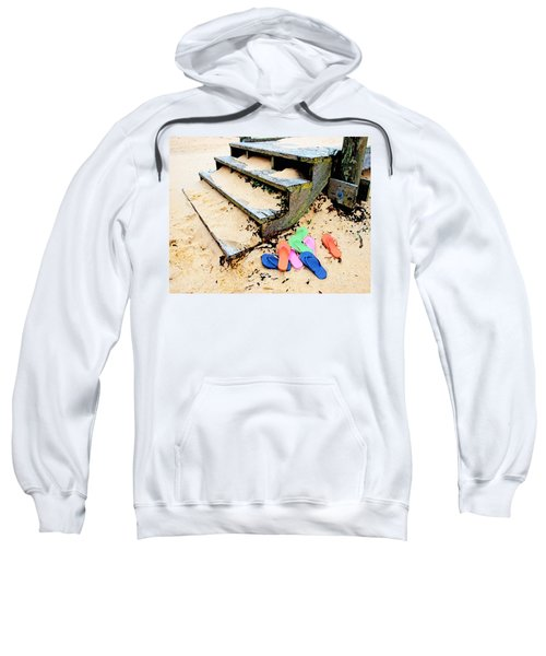 Pink And Blue Flip Flops By The Steps Sweatshirt