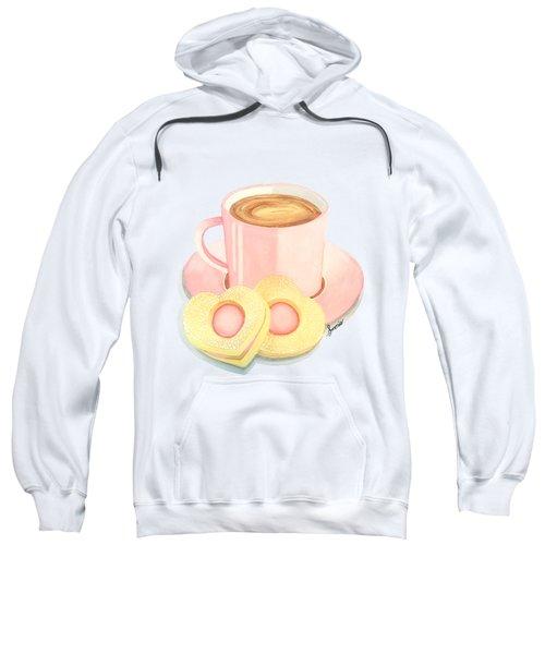 Pink Cup Coffee Served With Cookies Sweatshirt by Sonja Taljaard