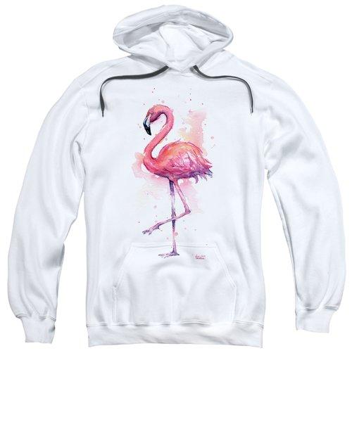 Pink Flamingo Watercolor Tropical Bird Sweatshirt