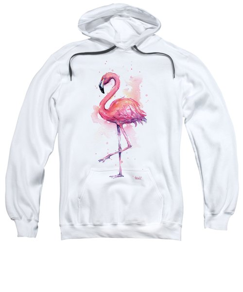 Pink Flamingo Watercolor Tropical Bird Sweatshirt
