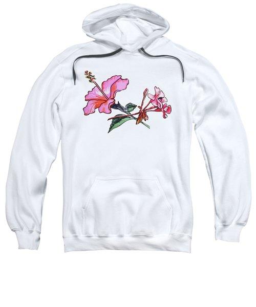 Pink Hibiscus And Geranium  Sweatshirt
