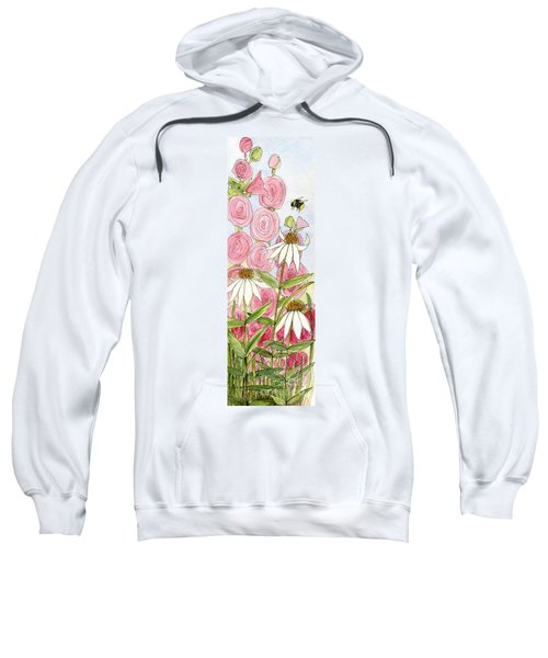 Pink Hollyhock And White Coneflowers Sweatshirt