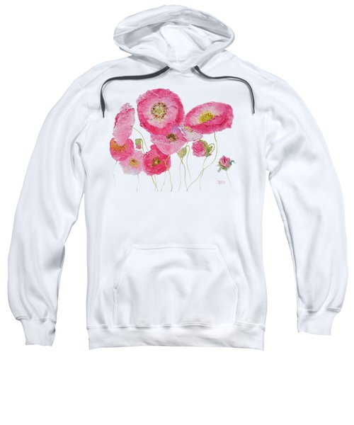Poppy Painting On White Background Sweatshirt
