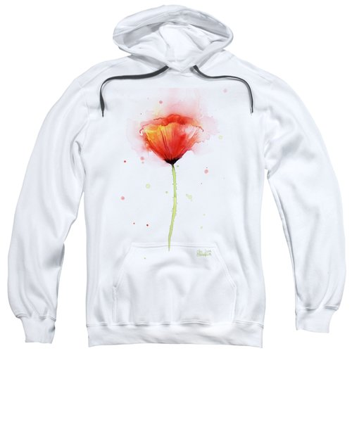 Poppy Watercolor Red Abstract Flower Sweatshirt