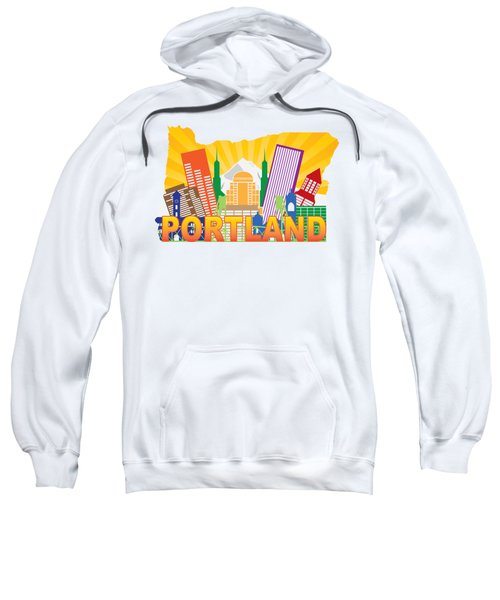 Portland Oregon Skyline In State Map Sweatshirt