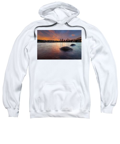 Portland Skyline Along Willamette River At Sunset Sweatshirt