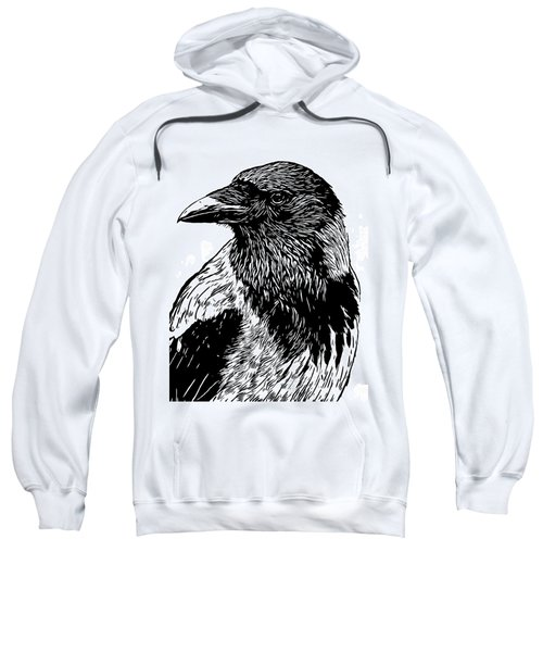 Portrait Of A Crow With Head Turned Looking In Black And White I Sweatshirt