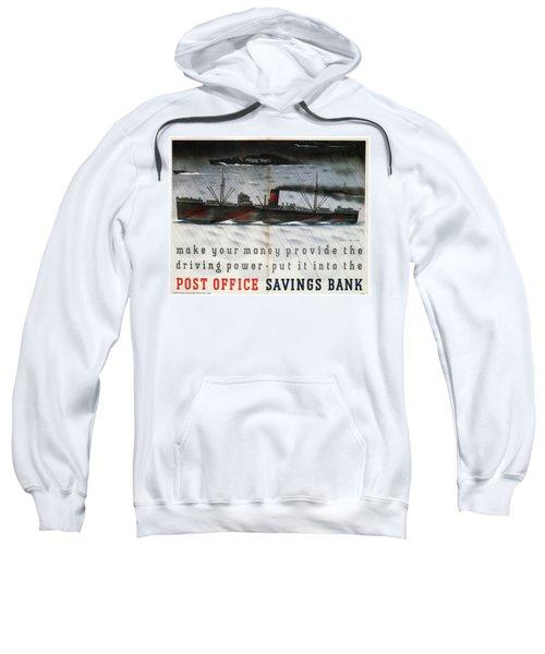 Post Office Savings Bank - Steamliner - Retro Travel Poster - Vintage Poster Sweatshirt