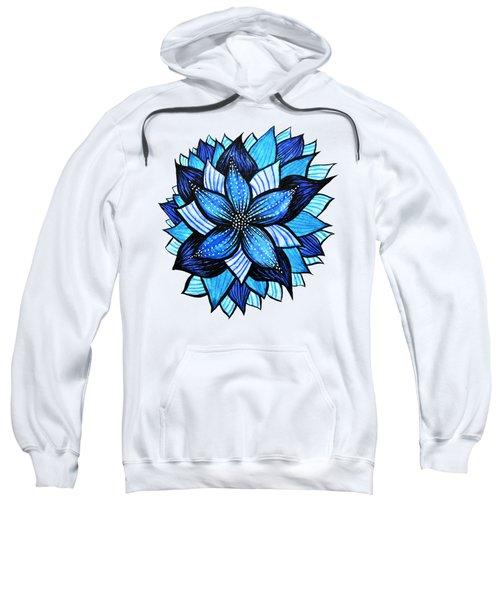 Pretty Abstract Blue Mandala Like Flower Drawing Sweatshirt